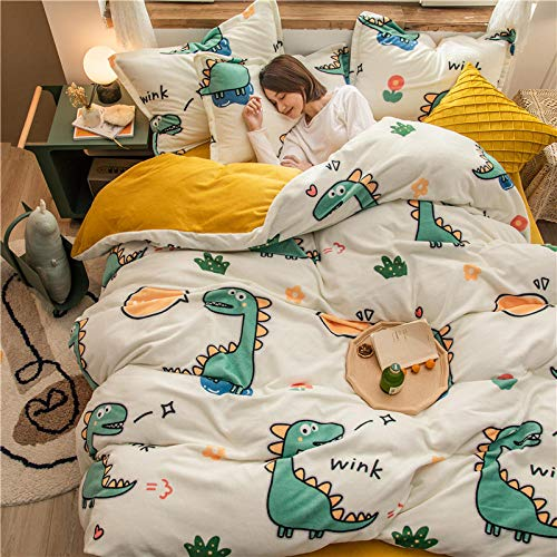 LCFCYY Duvet Cover Set Double Size,Winter thick flannel duvet cover set,kids bedroom Warm cartoon printed pillowcase solid color bed sheet V 200 * 230cm(4pcs)