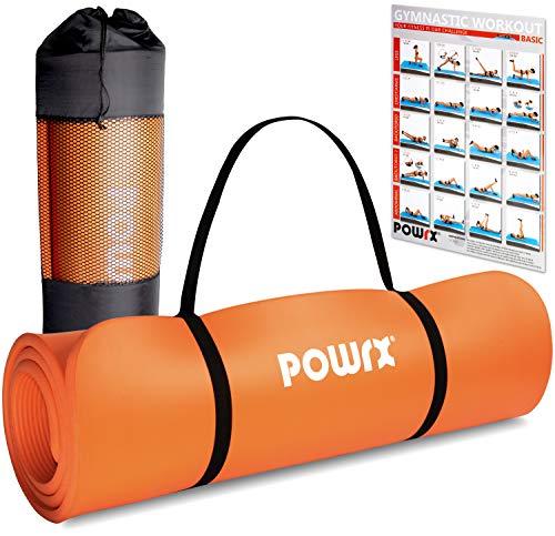 POWRX Tappetino Fitness Antiscivolo 190 x 60 x 1,5 cm - Ideale per Yoga, Pilates e Ginnastica - Extra Morbido e Spesso - Ecocompatibile con Tracolla e Sacca Trasporto + Poster (Arancione)