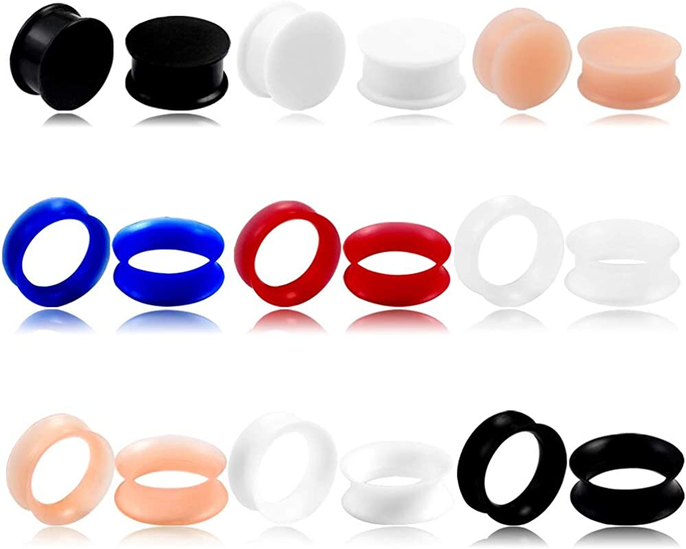 Casvort 18 PCS Silicone Mixed Colors Double Flared Ear Plugs Tunnels Ear Gauges Stretcher Piercings Body Jewelry 2 g- 1 inch