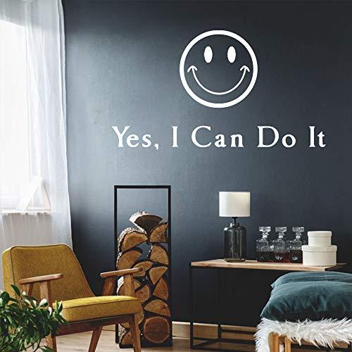 Cara sonriente linda etiqueta de la pared frase frase inspiradora dormitorio sala de estar decoración tatuajes de pared mural papel tapiz negro 2 30x53cm