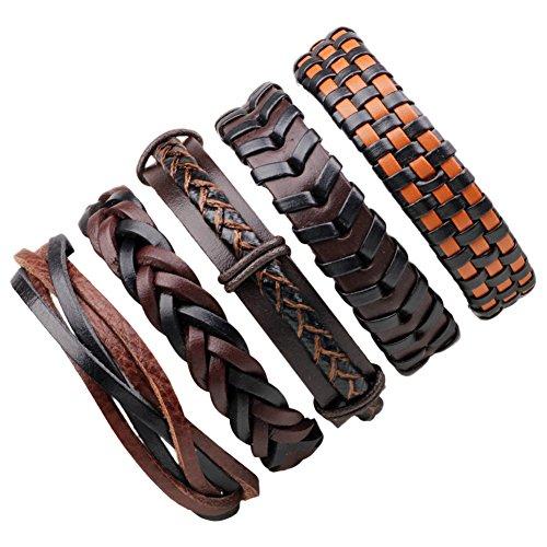 LQZ Punk Style Leather Men Bracelet Set