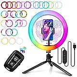 """10"""" RGB Anillo de Luz - amzdeal Aro de Luz con Trípode y Soporte de Móvil, 26 RGB Colores Regulable, 10 Niveles de Brillo, 3 Modos de Luz, Control Bluetooth para Selfie Fotografía Youtube Maquillaje"""