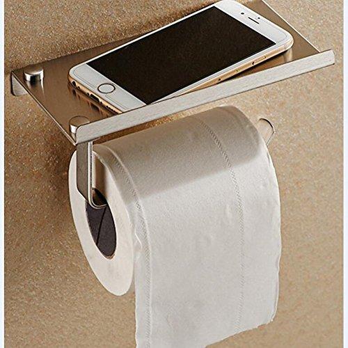 Preisvergleich Produktbild 1 Set Edelstahl Badezimmer Papier Handy Halter Mobile Badezimmer Handtuchhalter mit Ablage Rack Toilettenpapier Aufbewahrung Halter Tissue steht