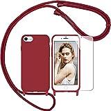 Nupcknn Funda Silicona Líquida con Cuerda para iPhone 7/iPhone 8/iPhone SE 2020, Carcasa Suave...