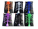 JESEP 6 Pairs Lock Elastic Lace No Tie Shoelaces for Adult & Kids For Sports and Outdoor Activities Reflective Round Shoe Laces (Color 1)