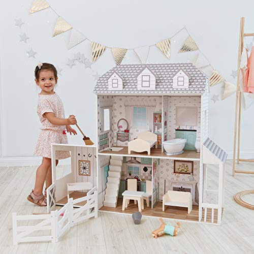 Teamson Kids - Dreamland Farm House Wooden Pretend Play Doll House Dollhouse For 12' Doll with 14 Pieces of Furniture - White / Gray