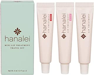 Lip Treatment by Hanalei.Made with Kukui Oil,Shea Butter,Agave,and Grapeseed Oil.Soothe Dry Lips,Cruelty free, Paraben Free.MADE IN USA. Multi-colored Travel-size 3 pack (5ml/5g/0.17oz x 3 tubes)