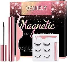 VESHELY Magnetic Eyelashes with Eyeliner Kit,3 Pairs Natural Look False Lashes Kit and Waterproof Magnetic Liner,3D Short and Long Eyelashes Set - No Glue Needed