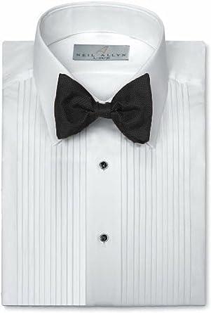 Neil Allyn Camisa para traje con cuello caído y pliegues de 0 ...