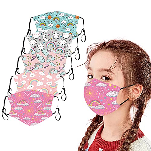 Kids Face Mask, 5/6 Pcs Childrens Washable Reusable Cloth Face Mask Dust Protection with Adjustable Earloop for Boys Girls (5Pcs Kids Face Mask L)