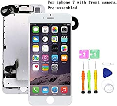 Screen Replacement Compatible with iPhone 7 Full Assemby - LCD 3D Touch Display Digitizer with Ear Speaker, Sensors and Front Camera, Fit Compatible with iPhone 7 (White)