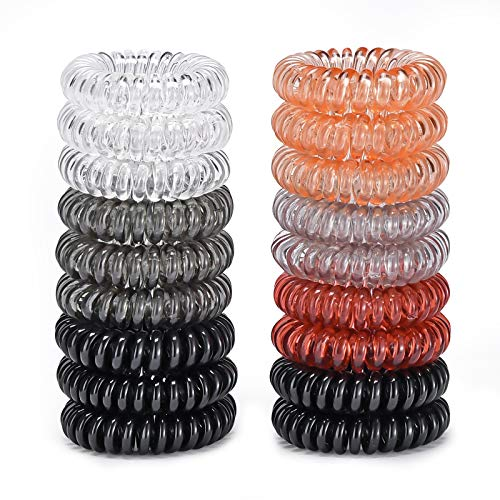 18 Pack Hair Ties,Spiral elastics, Multi Color Hair Scrunchies, No Crease Spiral Hair Elastics,Hair ties for women