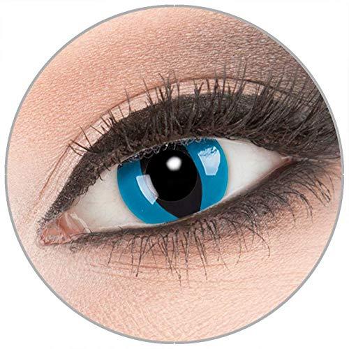 Farbige 'Mystic Cat' Kontaktlinsen von 'Evil Lens' zu Fasching Karneval Halloween 1 Paar blaue Crazy Fun Kontaktlinsen mit Behälter ohne Stärke