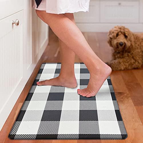Kitchen Mat Cushioned Anti-Fatigue Floor Mat, Waterproof Non-Slip Kitchen Rug Standing Mat Ergonomic Comfort Floor Mat Rug for Kitchen, Home, Office, Sink, Laundry, Desk (Black Plaid, 17.3'x30')