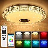 72W Lámpara LED de techo con altavoz Bluetooth, control por aplicación para smartphone, intensidad regulable, música RGB y blanco hasta blanco cálido 2700-6500 K, Acrílico lámpara redonda empotrada