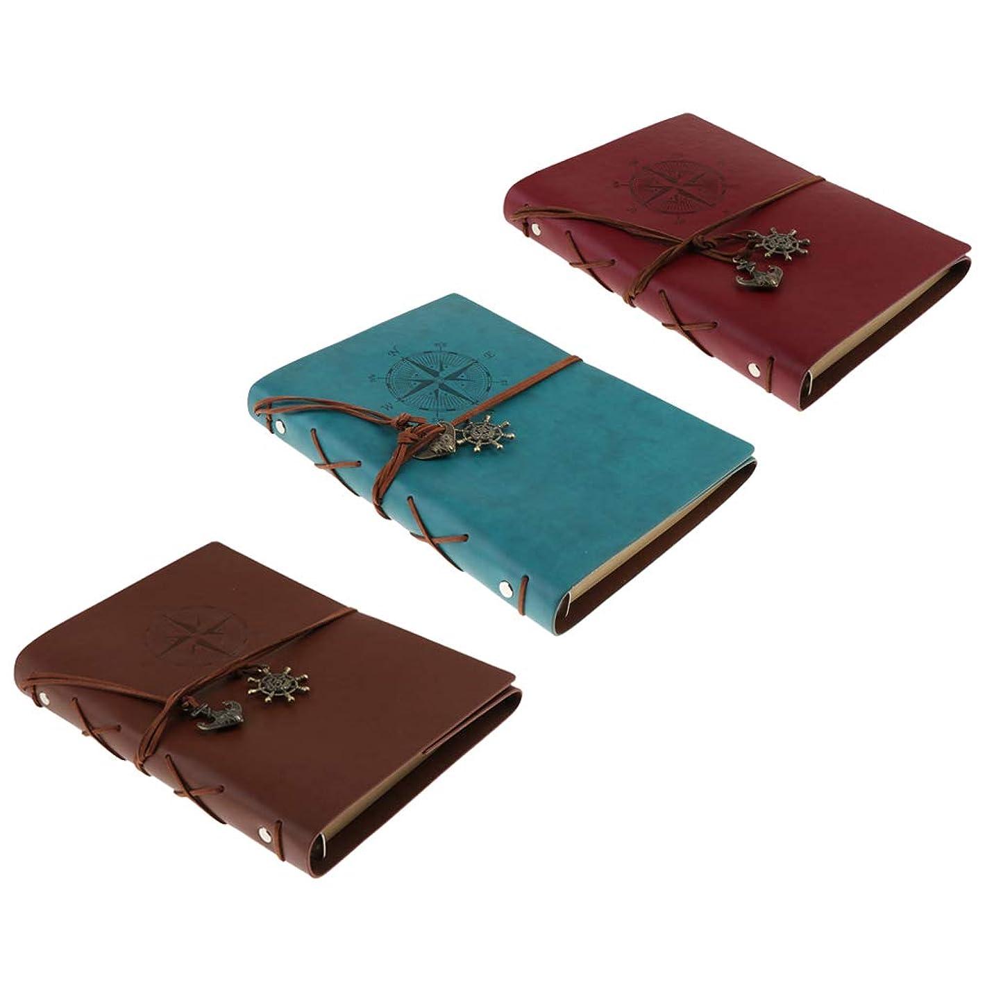 断片楽しい十億B Blesiya A5ノート バインダーノート 旅行ノート 空白ノート レトロ風 クラフト紙 80枚 3冊