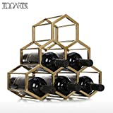 YUK - Soporte de Metal para 6 Botellas, diseño de Panal de Abeja para Vino Tinto