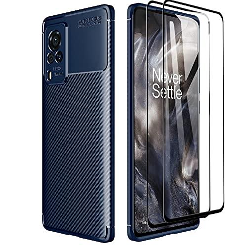 GOKEN Hülle für vivo X60 Pro 5G + 2 Panzerglas, Schutzhülle TPU Silikon Handyhülle mit Stylisch Karbon Design, Stoßfest Bumper Hülle Soft Flex Cover, Blau