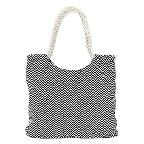 SoulCats Borsa da mare shopper con motivo a zig-zag in bianco e nero