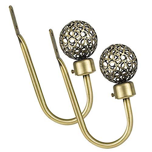 INCREWAY Ganchos para cortina, 2 piezas de metal hueco bola en forma de U ganchos de pared con tornillos de sujeción para cortina (bronce antiguo)