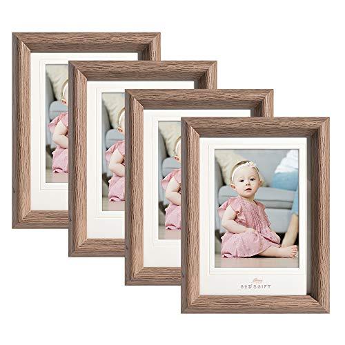 Metrekey Bilderrahmen 13x18 cm 4er Set Glas Hozlrahmen mit Passepartout für Bilder 10x15cm Braun Fotorahmen für Tischdisplay und Wandbehang