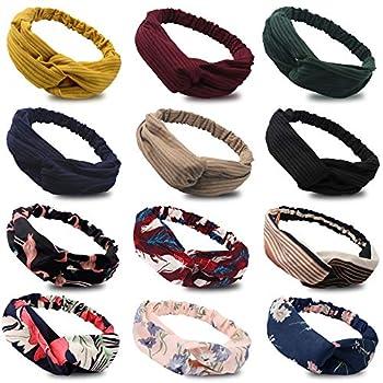 Amcami 12 Pcs Boho Headbands for Women Vintage Womens Headbands Solid Floral Twisted Criss Cross Elastic Head Wrap Hair Accessories