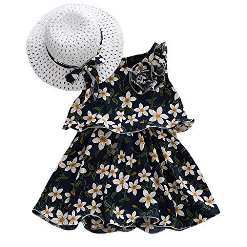 Fenverk MäDchen Baumwolle Streifen Tiere T-Shirt Kleid Cartoon Blumen Baby Sommerkleidung Infant Outfit äRmellose Prinzessin Gallus Kleinkind Swing(Marine-01,18-24 Monate)