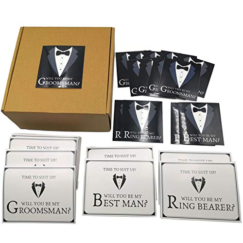 Groomsmen Proposal Box Set of 10 Kraft Groomsmen Box Empty 8x8x3.5 in With 14 Will You Be My Groomsman Labels And Matching Cards to Ask 10 Groomsmen, 2 Best Men and 2 Ring Bearers