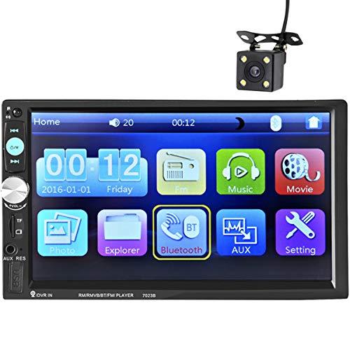 ZHBD Radio De Audio Estéreo para Automóvil, Monitor LCD Digital con Pantalla Táctil De 7', Manos Libres Bluetooth, MP3 / USB/SD/FM, con Cámara De Respaldo Y Control Remoto Inalámbrico