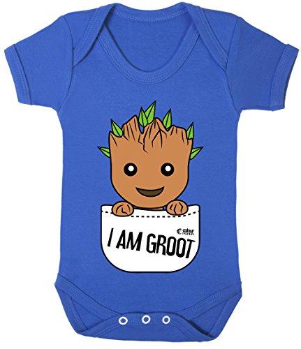 Colour Fashion Groot en Poche Superhéros Drôle Costume Bodys Bébé 100% Cotton 0-24 - Bleu Roi, 3-6 Months