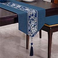 FTTH&YAG 新しい中国のテーブルランナー、ティーテーブル、リネン布、テーブルクロス、長い布、綿、リネン、ティークロス、茶テーブルクロス、結婚式、感謝祭、クリスマス、赤 (Color : DARK BLUE, Size : 33*180CM)