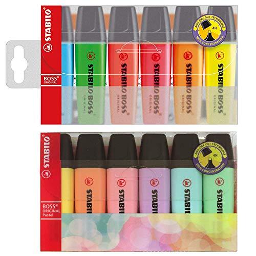 STABILO BOSS Textmarker - 6 Original + 6 Pastell - Doppelpackung - Gemischt 6 Packungen - (12 insgesamt)