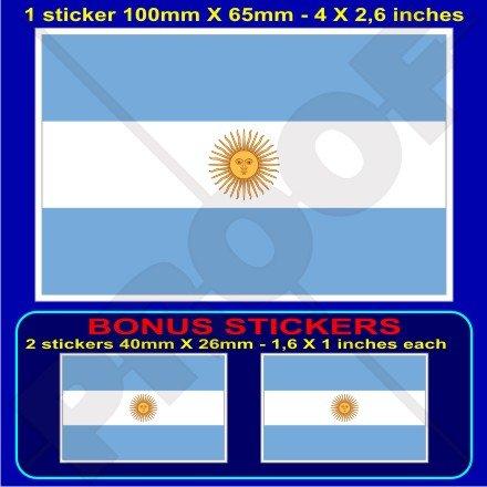 argentine argentin Drapeau national 10,2 cm Bumper Sticker en vinyle (100 mm), en x1 + 2 Bonus
