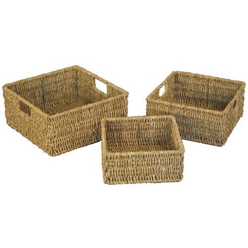 JVL Seagrass Square Storage Baskets with Inset Handles, Set of 3