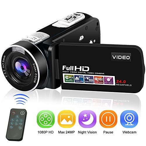 Videocámara Cámara de Video Cámara Digital Full HD 1080P 24.0MP Vlogging Cámara Visión Nocturna Función de Pausa con Control Remoto