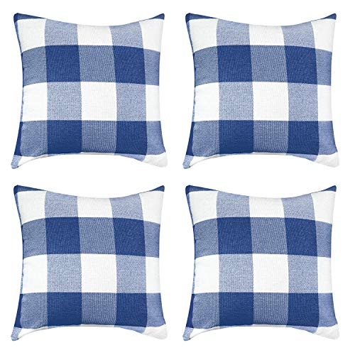 VIS'V Buffalo Check Plaid Throw Pillow Covers, Set of 4 Cotton Linen Square Farmhouse Decorative Couch Pillow Covers 18 x 18 Inch Checkered Cushion Covers for Porch Farmhouse Decor - Blue and White