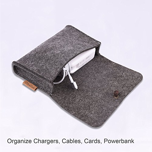 ProCase Felt Storage Case Bag Accessories Organizer for MacBook Laptop Mouse Power Adapter Cables Computer Electronics Cellphone Accessories Charger SSD HHD -Black