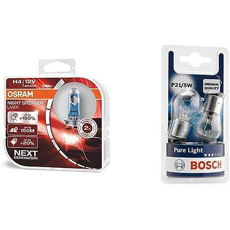 Osram Night Breaker Laser H4 Next Generation 150 Mehr Helligkeit Halogen Scheinwerferlampe 12v Pkw Duo Box 2 Lampen Bosch Autolampe P21 5w Pure Light Stopp Blinklicht Kennzeichenlampe Auto