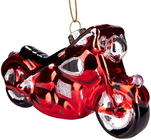 Brubaker Motorrad Rot - Handbemalte Weihnachtskugel aus Glas - Mundgeblasener Christbaumschmuck Figuren lustig Deko Anhänger Baumkugel - ca. 12 cm