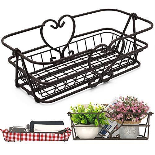 Cestas de cocina para fruta y verdura, Almacenamiento de alta capacidad de 41cm, Encimera de cesto de alambre decorativo, bronce antiguo