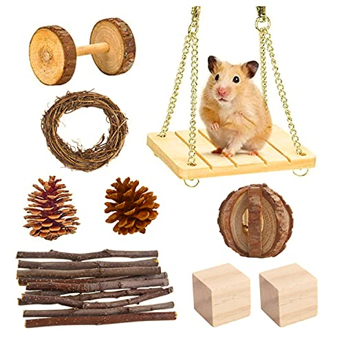 Goorder Jouet Hamster, Jeux pour Lapin, 9Pcs Accessoire pour Lapin Nain, Gerbille, Chinchillas, Cochon d'Inde