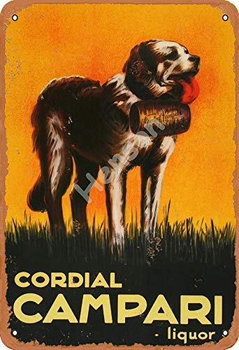 TSHOME Cordial Metall-Blechschild Campari Likörhund, Retro, Vintage, Aluminium-Schilder für Wanddekoration, Shabby-Chic-Stil, 20,3 x 30,5 cm