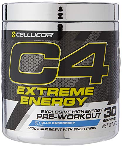 Cellucor C4 Extreme Energy Pre Workout Powder Energy Drink with Caffeine, Creatine, Nitric Oxide & Beta Alanine, Icy Blue Raspberry, 30 Servings