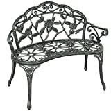 Best Choice Products Outdoor Curved 39in Metal Park Bench w/Floral Design, Black