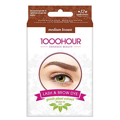 1000 Hour Lash & Brow Dye - Gentle Plant Extract Brush In Kit - Medium Brown