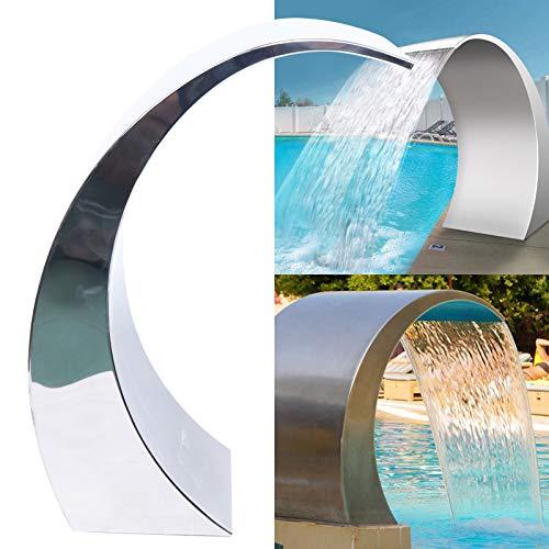 Kaibrite Fuente de acero inoxidable de 1,5 pulgadas, rosca interior de 60 x 30 cm, ducha de cascada, ducha de cascada, para estanques de jardín, piscinas