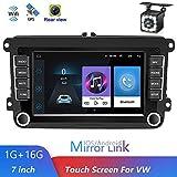 Luckdragon Autoradio mit Navi für Volkswagen, Android Auto Navigation Stereo 7 Zoll 2 Din Autoradio für VW Golf/Polo/Tiguan/Passat/b7/b6/SEAT/leon/Skoda/Octavia (12-Licht-Kamera)