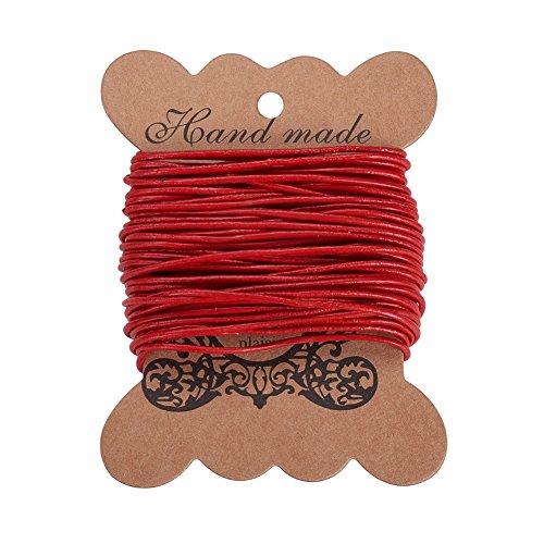 PandaHall Elite 1 Roll Cordon de Cuero de Vaca, de Cuero Joyas Joyeria DIY Making Material, Cordón Redondo, Rojo, 1.5mm