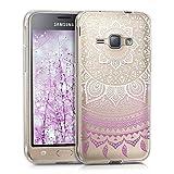 kwmobile Hülle kompatibel mit Samsung Galaxy J1 (2016) - Hülle Handy - Handyhülle - Indische Sonne Violett Weiß Transparent