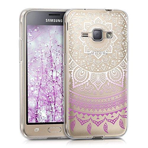 kwmobile Custodia Compatibile con Samsung Galaxy J1 (2016) - Cover Silicone TPU - Protezione Back Case - Sole Indiano Viola/Bianco/Trasparente